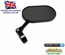 "Oberon Oblong billet 7/8"" handlebar clamp mirror (Black) from Autolive Online"
