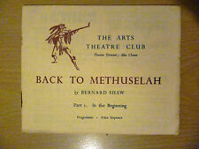 .1947 Arts Theatre Club Programme: BACK TO METHUSELAH Part 1:by Bernard Show