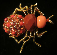 "Retired 1-3/4"" Signed Joan Rivers Goldtone Red Crystal Spider Bee Bug Brooch A76"