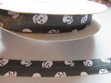 Skull black & white Fold Over Elastic Ribbon 1.6cm x 1 Metre Sewing/Crafts/Cake