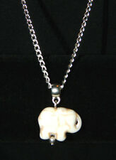 """Ivory Turquoise Elephant Charm Pendant 18"""" Silver Chain Necklace NEW Exotic Zoo"""
