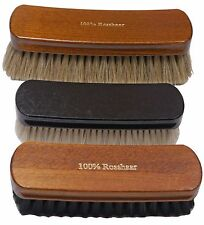 shoe brush SET for cleaning + high shine: 3 brushes goat & horse hair   Germany