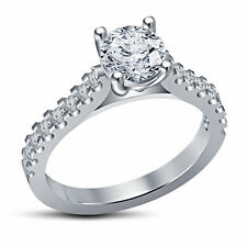 Rhodium Plated Ring CZ Stone Engagement Solitaire W/ Accents Ring for Women