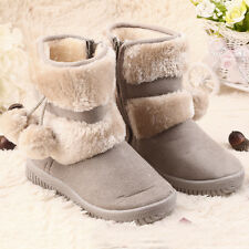 New Baby Kid Girl Toddler Infant Winter Snow Boots Warm Crib Shoes Faux Fur CC