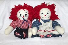 Lot of 2 Vintage Raggedy Ann & Andy Shelf Sitter Plush Dolls DIY Crafts Projects