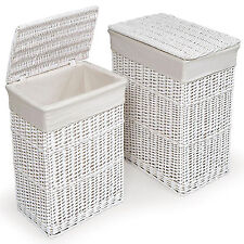 LARGE WHITE WICKER RECTANGULAR LINEN LAUNDRY BASKET WITH LINING & ATTACHED LID