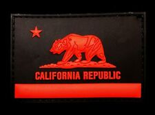 3D PVC CALIFORNIA REPUBLIC STATE FLAG BLACK OPS RED VELCRO® BRAND FASTENER PATCH
