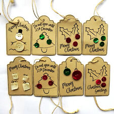 Hand Crafted Brown Button Quality Christmas Gift Tags - 8 Tags (1 x 8 Designs)