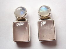 Rose Quartz and Moonstone 925 Sterling Silver Stud Earrings Corona Sun Jewelry