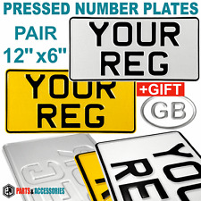 "12""x6"" PAIR REFLECTIVE AMERICAN IMPORT 4x4 VEHICLES PRESSED NUMBER PLATE +GIFT"