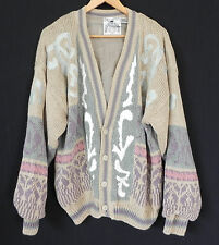 Vtg Index International Sweater Cardigan Multi-Color Cotton/Ramie Lining Size L