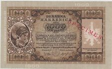 Yugoslavia German Occupation 1000 Lire 14.9.1944 P S R 24s Uncirculated Banknote