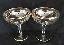STYLISH VINTAGE GILDED CHAMPAGNE SAUCERS/COUPES x 2 c1950 Wedding Toast