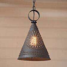 primitive new PENNYCRESS black punch tin pendant hang ceiling light/FREE SHIP