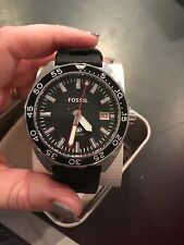 New Fossil FS5053 Breaker Diver Stainless Steel Mens Black Silicone Band Watch