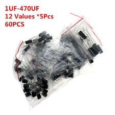 60pcs 12 Values 1uF-470uF Assorted Electrolytic Capacitor Assortment Kit Radial