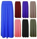 New Ladies/Women Pleated Fold Over Gypsy High Waist Jersey Long Maxi Skirt 8-14
