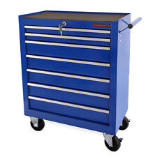 EBERTH Chariot d'atelier à outils servante caisse 7 tiroirs à roulettes bleu