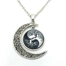 Vintage tree Cabochon Silver plated chain necklace pendants Moon pendant