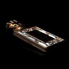 Classic Vintage Perfume Bottle Pendant CC Necklace Yellow Gold Emerald Cut X