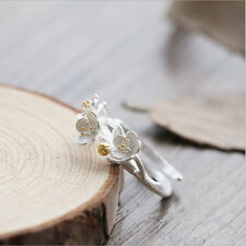 Women Simple 925 Soild Silver Daisy Flower Adjustable Open Sterling Ring