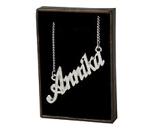 "Name Necklace ""ANNIKA"" - 18ct White Gold Plated - CZ Crystals - Name Plate Gifts"