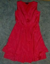 Banana Republic Red Dress Sz 8 Sexy Flirt Party Front Pockets Side Zip Layered
