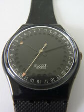 GB414 Swatch - 1991 Spot Flash All Black Date Swiss Made Authentic