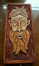 Green Man Pagan Spirit of Forest Hand Made Wood Carving 8 x 18cm