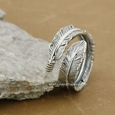 925 Sterling Silver Feather Ring 8S012C Size Adjustable UK Size O½~U½