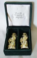 VINTAGE GODINGER SANTA SALT PEPPER SHAKERS CHRISTMAS VELVET BOX BOMBAY CO NIB
