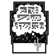 unmounted rubber stamp CACTUS / Desert Song, music notes #4, art deco style