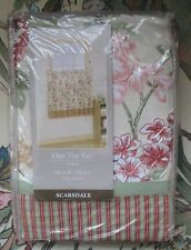 """ONE TIER PAIR ORCHARD SCARSDALE FLOWERED & PLAID CURTAINS 60"""" WIDE & 36"""" LONG"""
