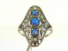 .50ctw Multi Colored Opal Victorian Deco Sterling Filigree Shield Ring s7 109a