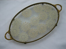 Vintage Antique Glass and Metal Oval Vanity Tray with Floating Crochet Doilies