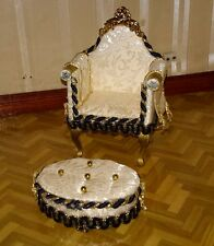 Dolls house decorative chair and footstool