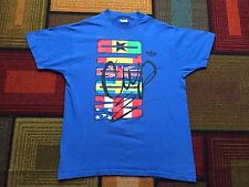 Vintage Adidas World Cup 1994 Soccer T Shirt Flags USA Blue sz M 90s Spellout