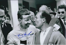 Tony BROOKS with Stirling MOSS SIGNED 12x8 RARE Photo AFTAL COA Autograph