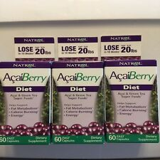 Natrol AcaiBerry Diet 60 Tablet 3-PACK Acai & Green Tea Superfoods Exp 5/31/17