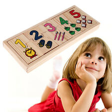 Wooden Number Counting Matching Puzzle Toy Preschool Educational Learning Gift