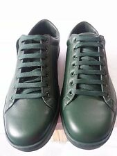 NEW MEN GUCCI LEATHER SNEAKERS WITH AYERS DETAIL IN GREEN SIZE G8.5 /US9.5
