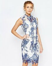 Paper Dolls High Neck Printed Lace Print Midi Pencil Dress UK 10-EU 38-US 6
