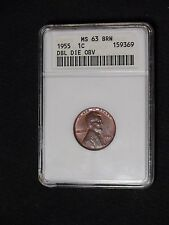 1955 Double Die Lincoln Anacs Ms63 Bn 1955/55 Doubled Wheat Cent 1c Coin