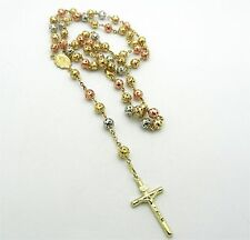 "10K Gold Tri Color Yellow, White and Rose Gold Necklace Rosary 27"" long 21 grams"