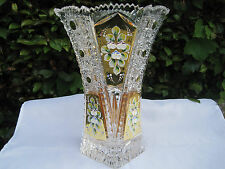 "VINTAGE BOHEMIA QUEEN LACE 24K GOLD ENAMEL SIX SIDED CRYSTAL VASE 11"" NIB"