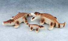 Vintage Bone China Miniature Set of 3 Alligator Family Figurines Glossy Finish