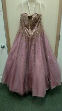 Size 20 w Alfred Angelo Tulle Ball Gown mauve gold beading and sequins stunning