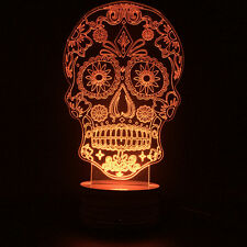 Party Lamp 3D Design Gothic Multi-color Day of the Dead Sugar Skull LED Light
