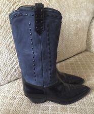 Donald J Pliner Blue Suede Black Patent Cowboy Boots Size 8