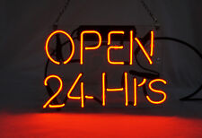 "'Open 24 Hours' Beer Bar Pub Art Window Display Real Neon Light Sign 10""x8"""